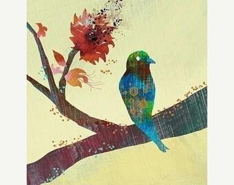 50% Off Summer Sale - Bird Branch Art - Modern Bird Wall Art - The World Standing Still - Bird Art Print - Bird Wall Decor