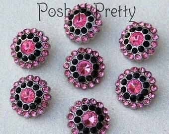 20% OFF EXP 06/30 5 PIECES Gem Elegant Button 24mm - Pink/Black
