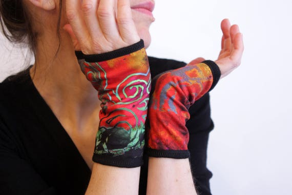 Short multicolor mittens. Cuff lined Arabesque Jersey cotton