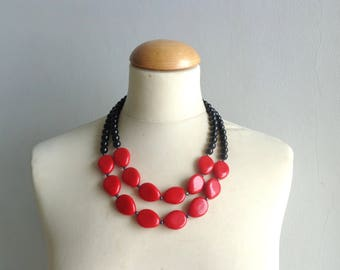 Red black statement necklace double strand