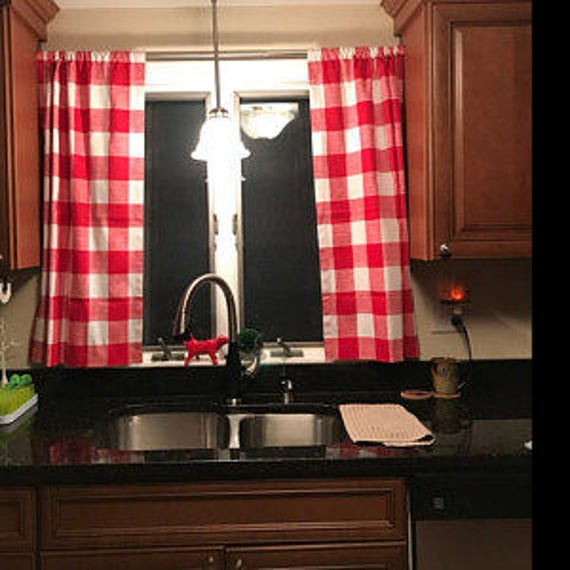 Red Gingham Buffalo Check Kitchen Cafe Curtains 2 Panels/ 1