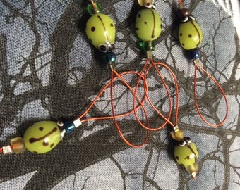 Green Ladybug Stitch Markers -- 5 Pieces