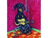 Doberman Pinscher in the Recording Studio Dog art Print