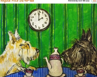 20 % off storewide Scottish Terrier tea time at the Cafe Dog Art Print