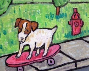 20% off storewide Jack Russell Terrier Skateboarding Dog Art Tile JSCHMETZ modern abstract folk pop art AMERICAN ART gift
