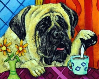 20% off storewide Mastiff at the Coffee Shop Cafe Dog Art Tile Coaster