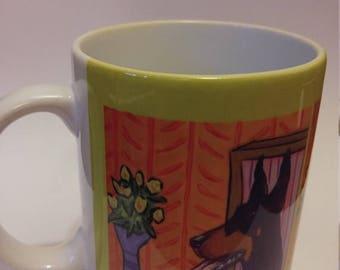 20% off Doberman Pinscher at the Coffee shop 11 oz mug cup gift dog art artwork