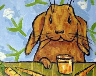 20% off Bunny Rabbit Drinking Carrot Juice Animal Art Tile Coaster