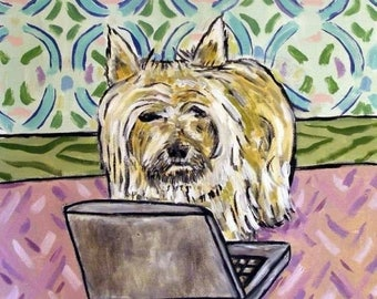 20% off Cairn Terrier Working on a Computer Dog Art Tile