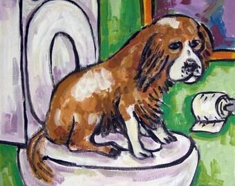 20% off Cavalier King Charles Spaniel in the Bathroom Dog Art Print  abstract folk pop art JSCHMETZ modern