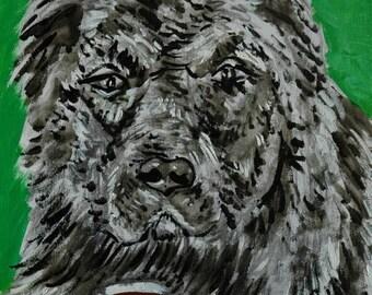 caucasian ovcharka coffee signed art print animals impressionism gift new dog prints