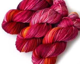 Hand Dyed Yarn Aran SW Merino, Cashmere and Nylon - Hot House, 180 yards