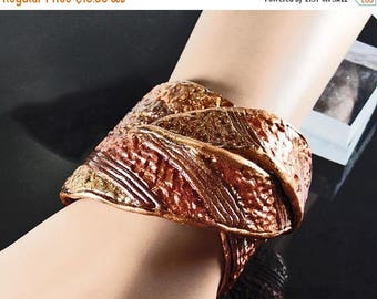 ON SALE Polymer clay cuff bracelet, adjustable, textured browns, golds, bronze, copper colors