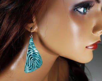 Polymer clay dangle earrings, seafoam jade, abstract