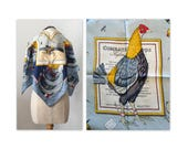 Vintage 50s Hermes Silk Twill Scarf, Combat de Coqs, Hugo Grygkar, 1954 AS IS