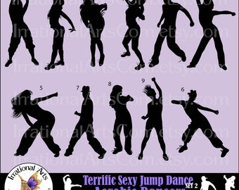 INSTaNT DOWNLOaD Terrific Sexy Jump Dance Aerobic Dancers Silhouettes 11 VECTOR VINYL READY Eps Svg png small commercial license