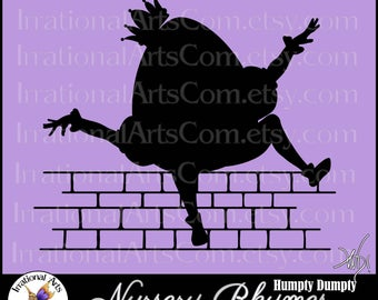 Humpty Dumpty Silhouette 1 - Vector Vinyl Ready Images with 1 EPS, SVG and PNG Digital Files and Scl Nursery Rhymes