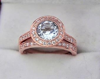 AAA Round Blue Aquamarine   7.0mm  1.20 Carats   14K Rose gold bridal set with .35cts of diamonds. MMMM