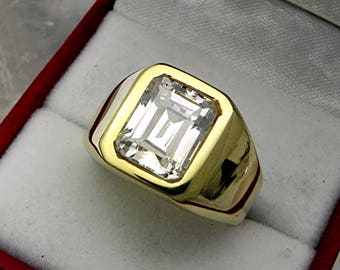 AAAA White Sapphire 10x8mm  7.15 Carats   Heavy 14K Yellow gold Emerald cut Mans  ring 15-16 grams 1761