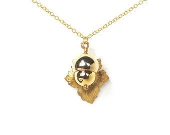 HALF PRICE SALE Woodland acorn and leaf golden charm necklace Last One