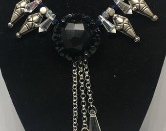 Antique button, Kuchi, crystal necklace