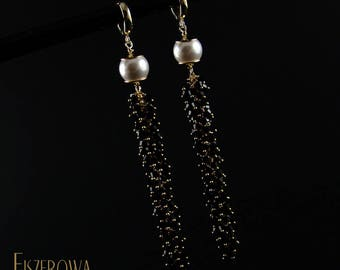 Multibicone pearl - b&w gold - earrings with Swarovski crystals and Swarovski pearls