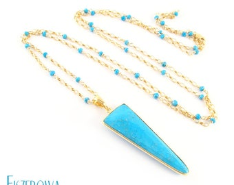 Single - turquoise - gold-plated pendant with turquoise