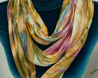 Autumn Gold Moss Green and Phlox Purple Ice Dyed Rayon Jersey Infinity Scarf