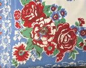 "Vintage Tablecloth MWT Table Linens Red White Blue Roses Printed Table Cloth Printed Table Cloth 54"" x 54"" Mid Century Kitchen Decor NWT"