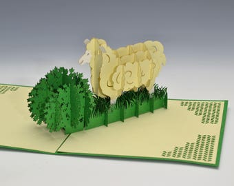 Pop Up cards Sheep for knitters Fiber lovers Greeting cards