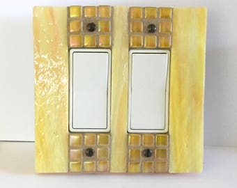 Yellow Stained Glass, Light Switch Cover, Decora Rocker Switchplate, Dimmer Switch, GFI GFCI Outlet, Outlet Wall Cover, Glass Art, 8912