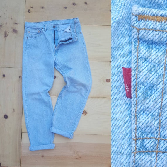 Vintage Levi's 505 Jeans // Vtg 90s Levis Made in the USA Distressed Light Wash Denim Jeans // 34
