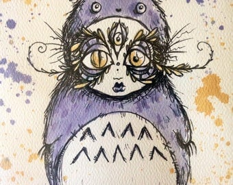 Totoro hand tea stained print