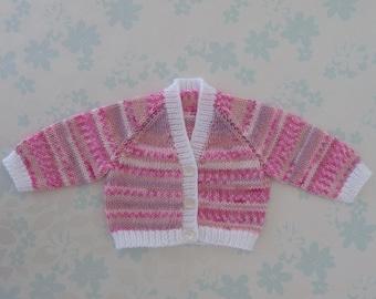 PREEMIE Sweater / Cardigan - 32 to 42 week preemie girl, kangaroo care, NICU, machine washable baby yarn in shades of pink, peach and white