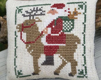 Santa Riding Reindeer Cross Stitch Christmas Ornament   **Made to Order**
