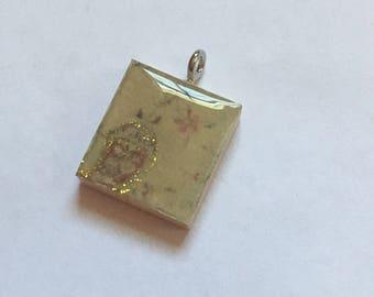 Scrabble Tile Pendant Necklace Gold Glittery  Favors Teacher Gift Birthday Gift Hostess Gift