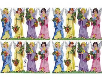 England Paper Scraps Lithograph Die Cut Christmas Angels  865