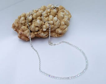 Crystal Necklace, beaded chain, faceted AB crystal, silver necklace, small bead chain