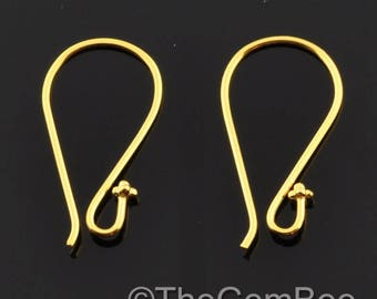 18k Solid Yellow Gold Earwires With Daisy Ends 1 pair