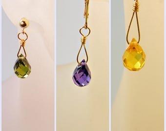 Cubic Zirconia Earrings; Purple Green Yellow Earrings Wire Wrapped in Gold-Filled; Dangle Earrings; Workplace Jewelry; Minimalist Earrings