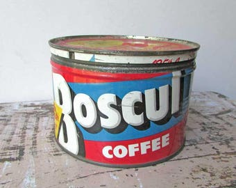Boscul Coffee Vintage  Key Wind Lithographed 1 Lb Coffee Tin with Lid, Red, White, Blue, Coffee Advertising Tin