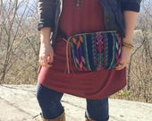 festival pack • fanny pack - sling bag - bum bag • geometric print - navy - guatemalan textile - waxed canvas • festival fashion