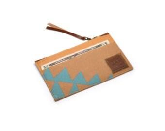 zip wallet • coin purse zipper wallet • aqua blue geometric print - triangle print - hand printed - slim wallet • cash and card wallet
