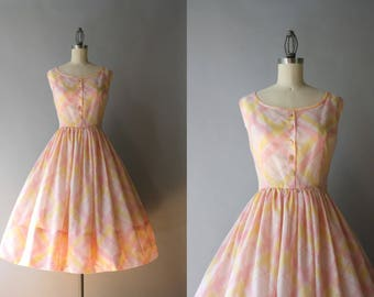 1950s Sundress / Vintage 50s Pastel Pink and Pale Yellow Sheer Sleeveless Dress / Vintage 1950s Dress S small S/M