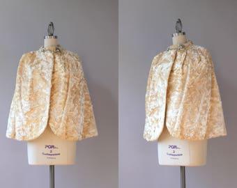 1940s Cape / Vintage 40s Golden Creme Faux Fur Cape / 1930s 1940s Glam Ivory Capelet S M