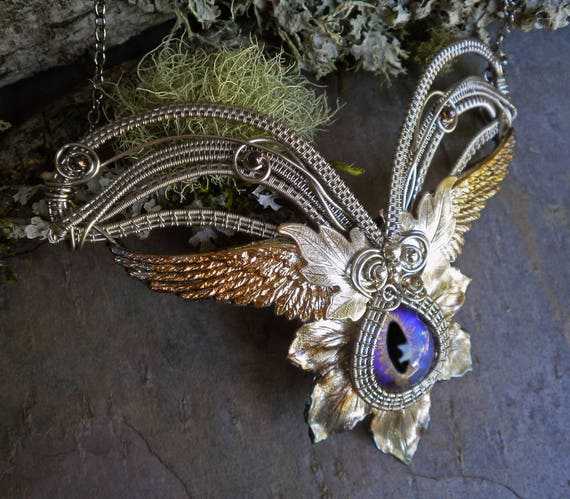 Gothic Steampunk Wings, Leaves and a Purple Eye Necklace