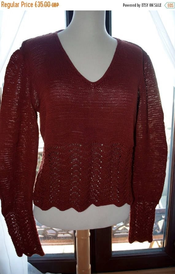 Christmas In July Handknitted Cotton Jumper in Rust with Lace Edging