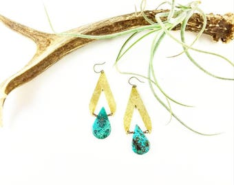 Turquoise & raw brass stone drops