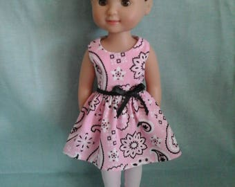 Pink Paisley dress fits WellieWishers American Girl Doll