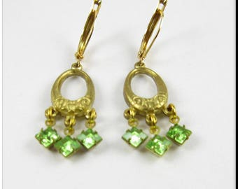Gold Hoop Chandelier Earrings Peridot Green Square Rhinestone Earrings Beadwork